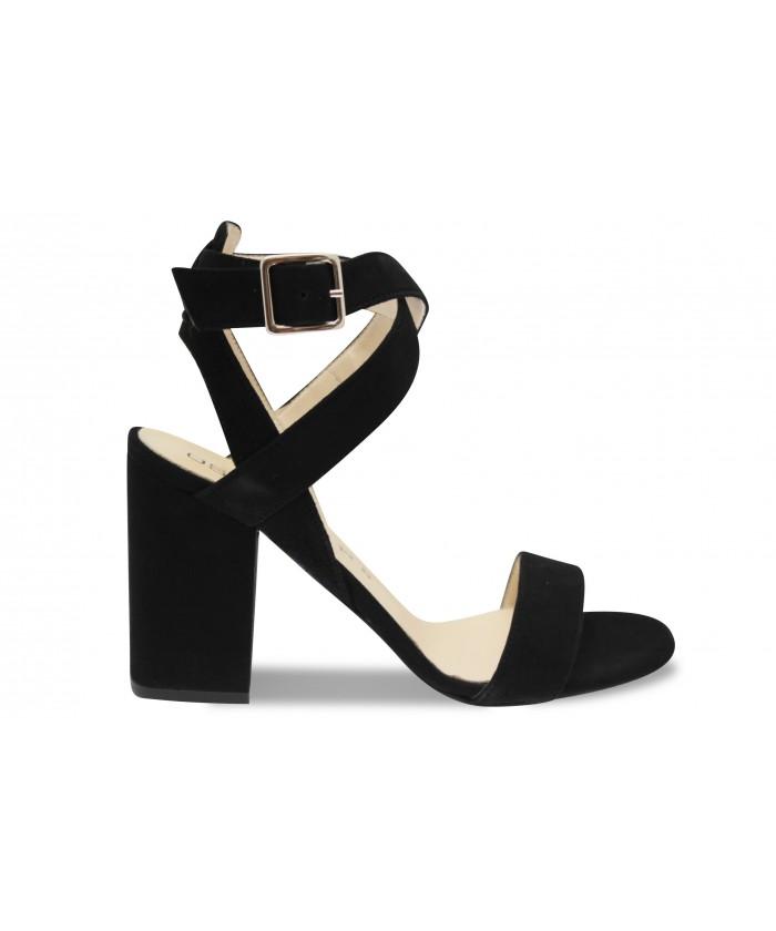Sandale Lia: Daim Noir à talon carré & bride croisé