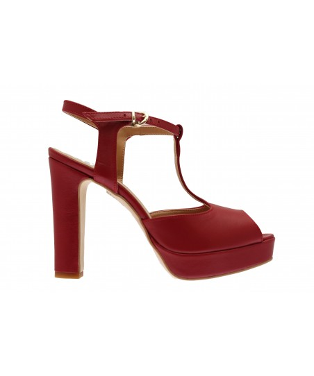 Sandale June : Cuir Rouge à Bride & Talon