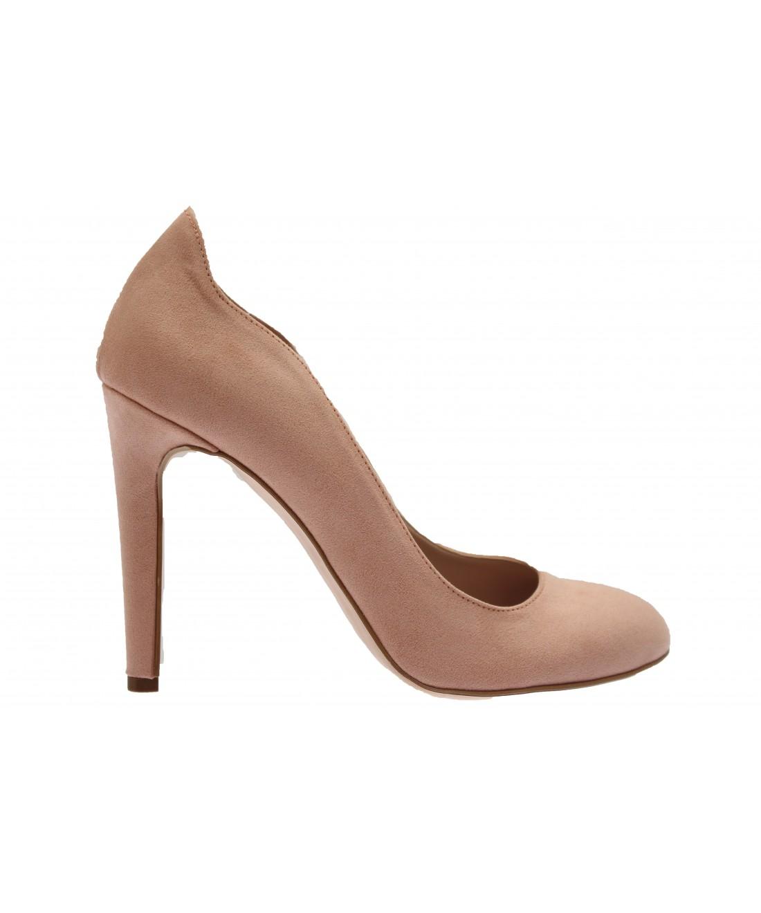 7e6d687fc426 Escarpin daim rose à bout rond babydoll des 60 s signée OSMOSE shoes