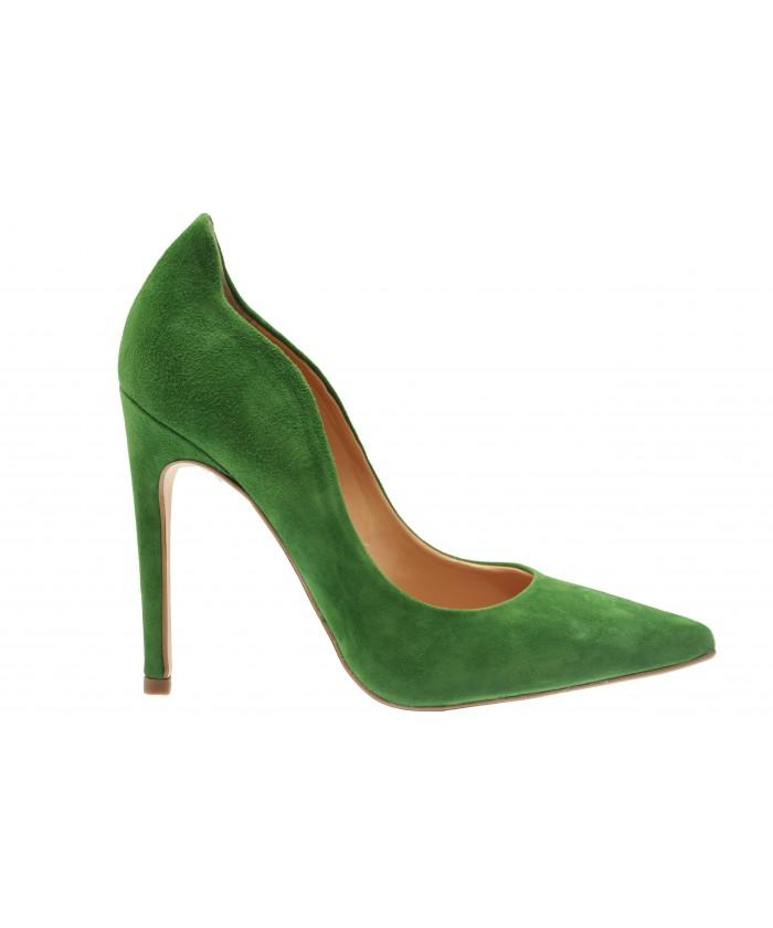 Escarpin Eden: Daim Vert à talon