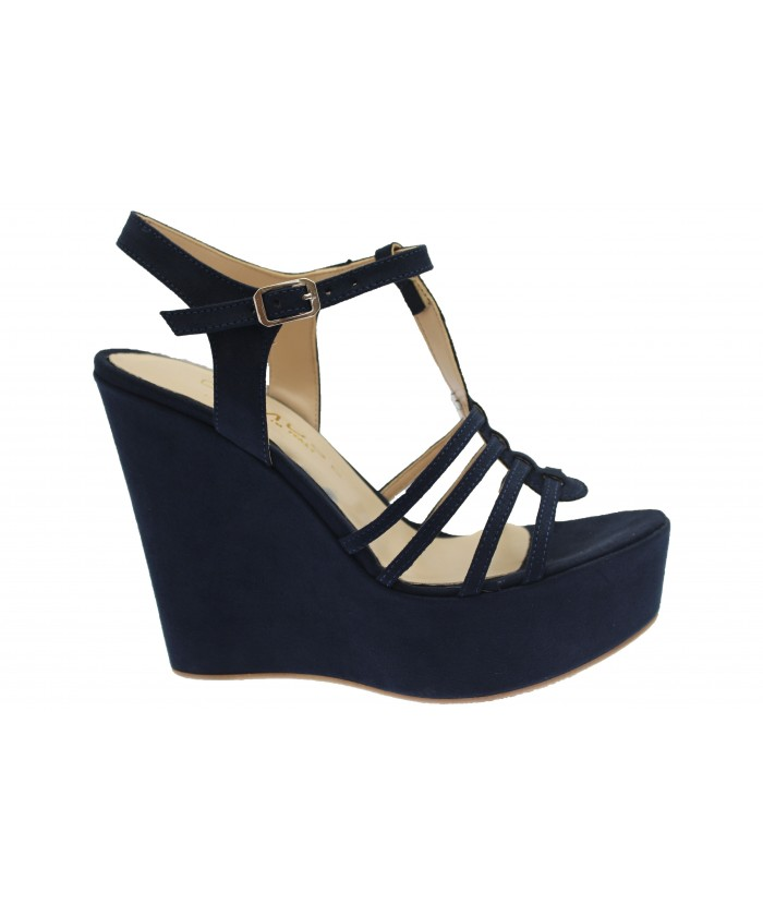 Compensée Telma : Sandale Daim Bleu à Multi-Brides
