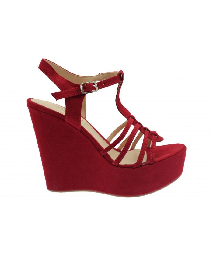 Compensée Telma : Sandale Daim Rouge Multi-Brides
