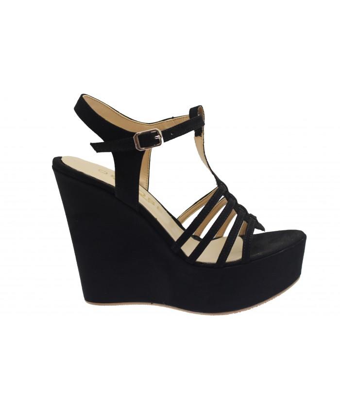 Compensée Telma : Sandale Daim Noir à Multi-Brides