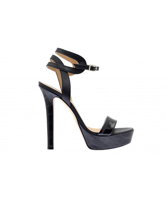 Sandale Anais : Cuir Noir & Croco Vernis
