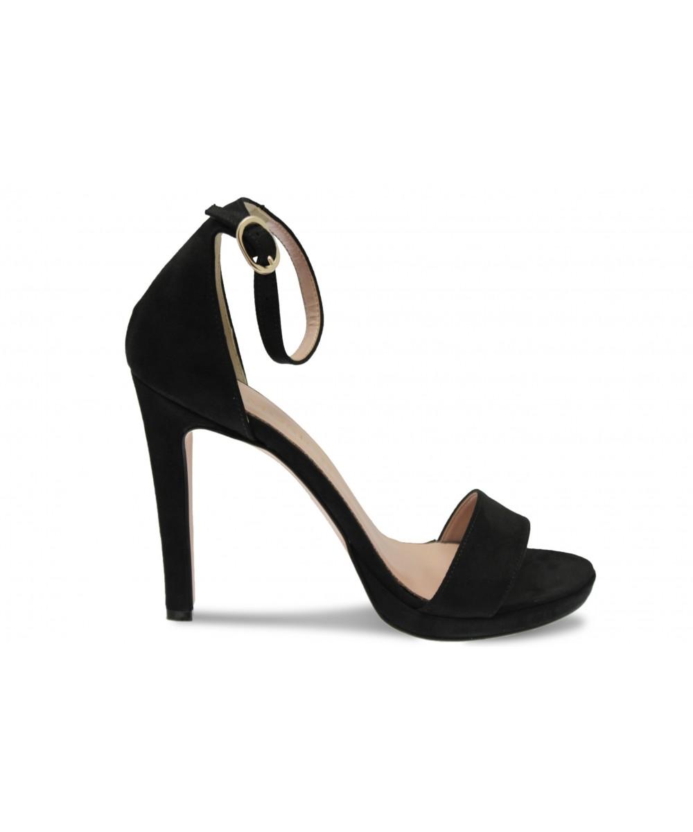 Sandale Line:Effet daim Noir à talon