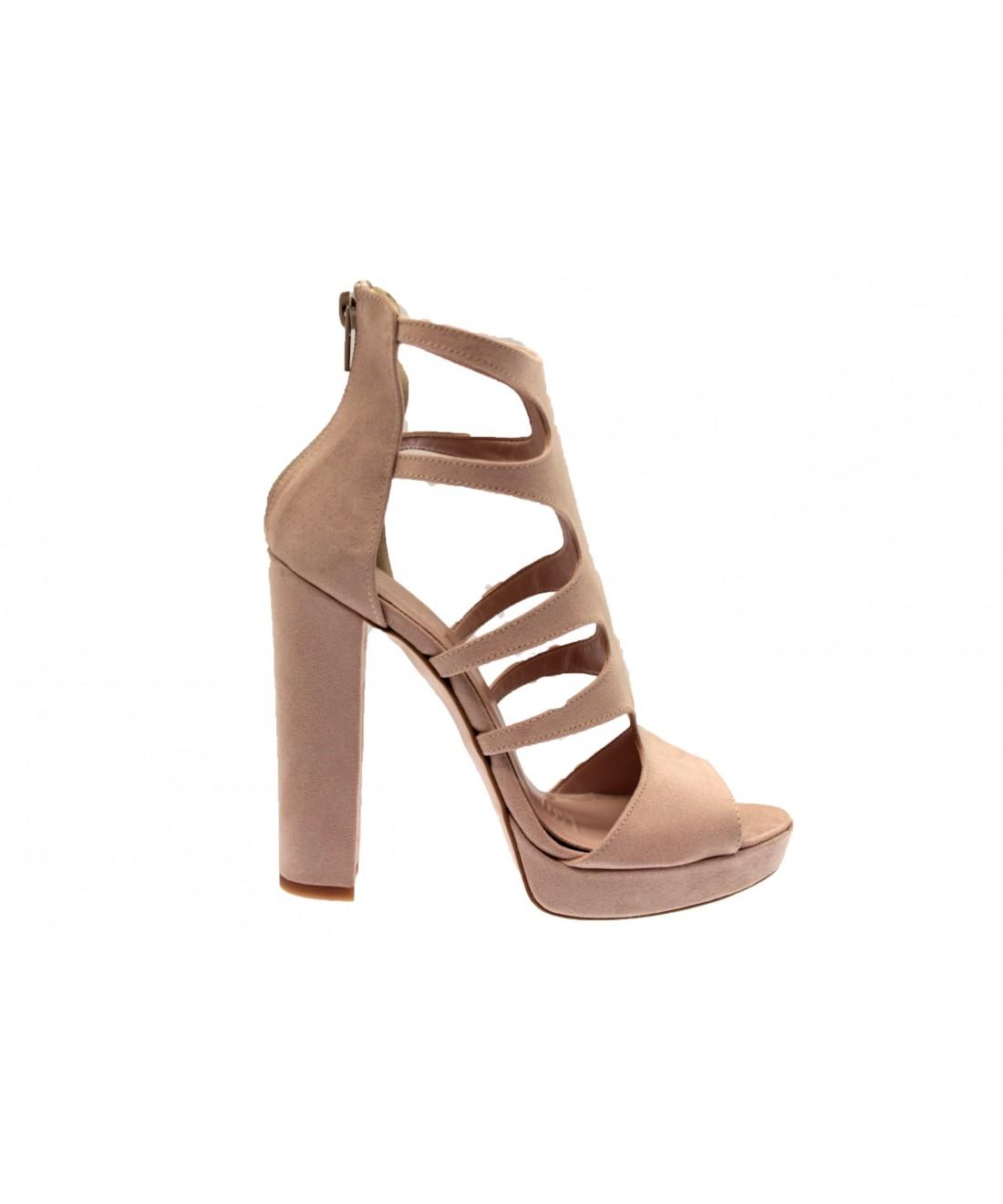 d47d537872568 Une ligne talon carré sur robe de daim rose poudré signée OSMOSE shoes