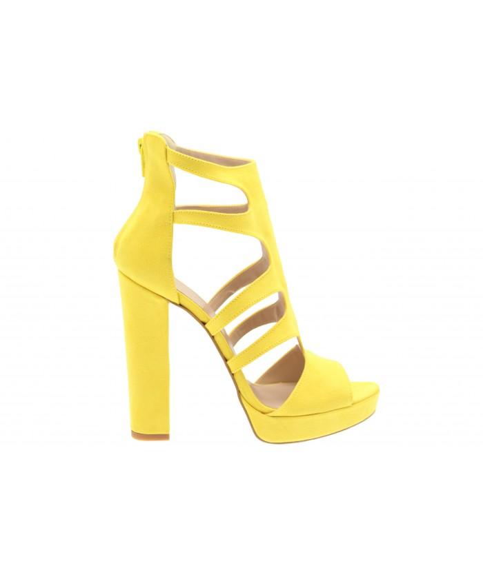 Sandale Dorine : Effet Daim jaune à Talon Carré
