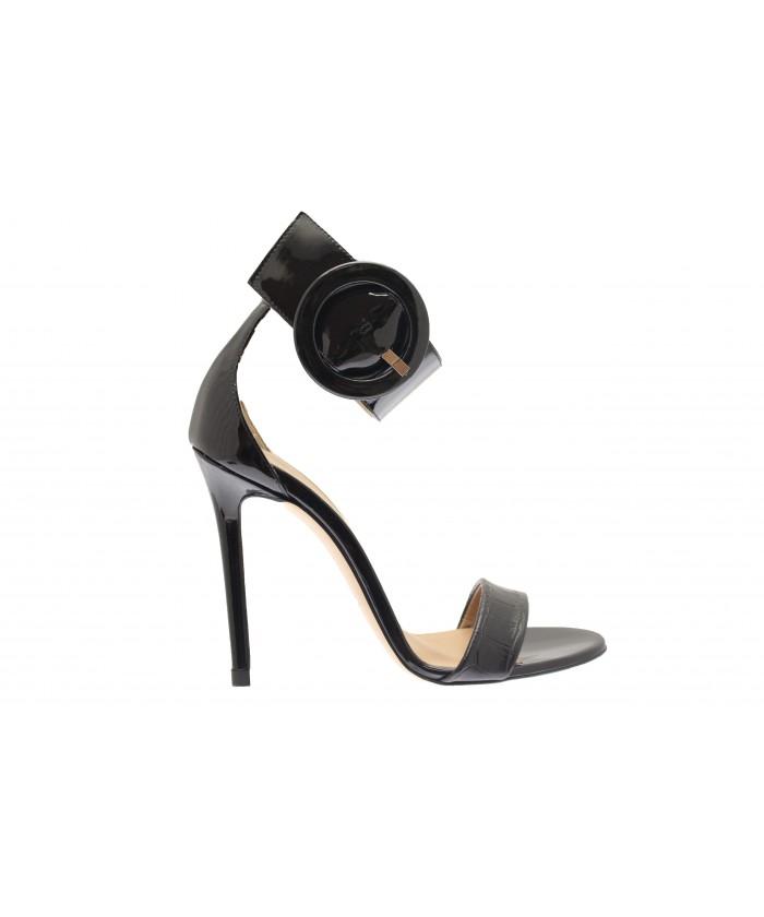 Sandale Mina: Vernis & Crocco Noir à bride & boucle