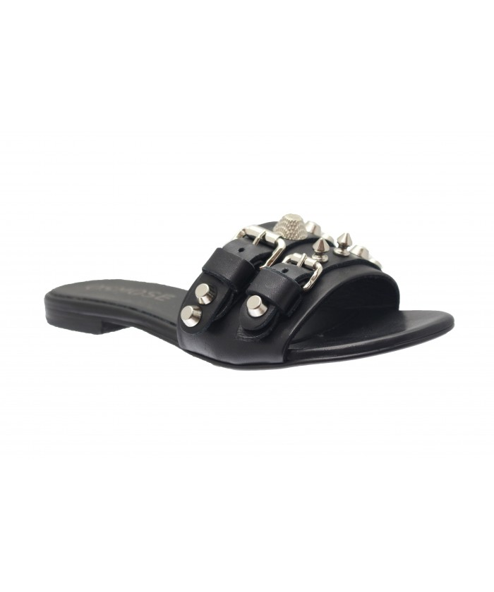 Sandale Cleya: Cuir noir à boucle bijoux