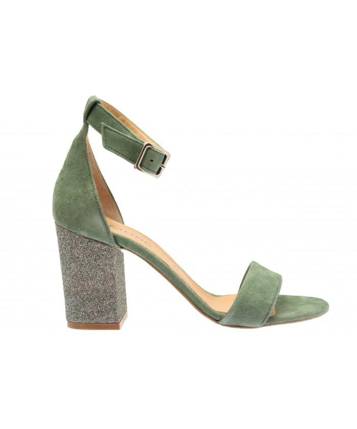 Sandale Ines : Daim Vert & Bride à Talon Carré Glitter