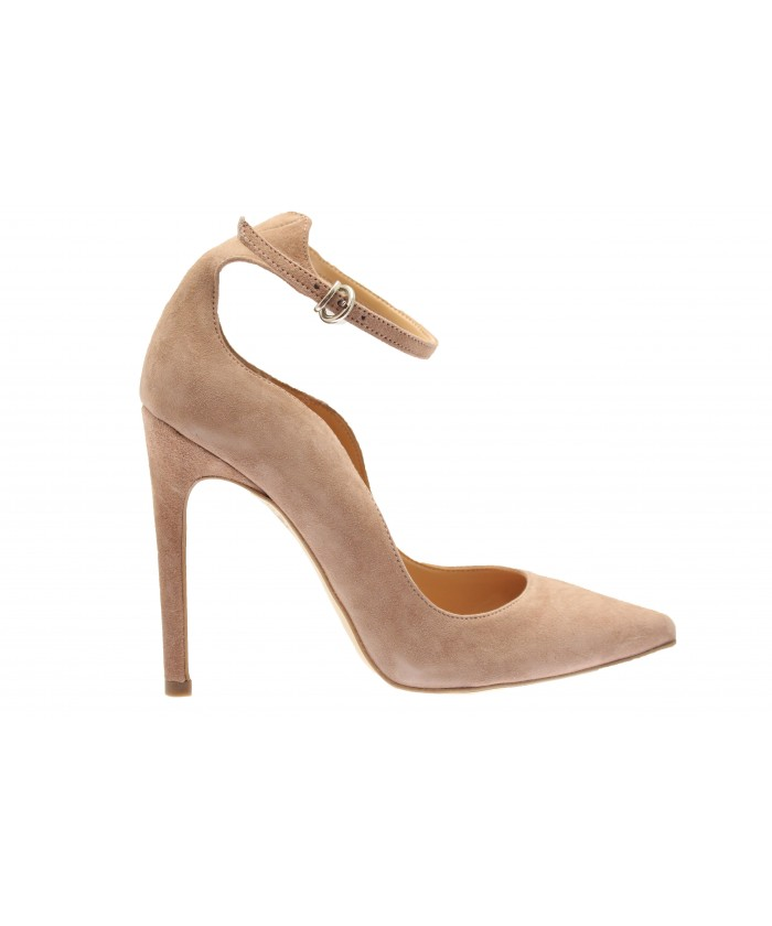 Escarpin Monique: Daim Vieux Rose à bride & talon fin