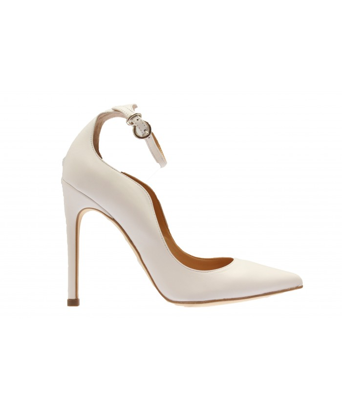 Escarpin Monique : Pelle Blanc à Bride & Talon Fin