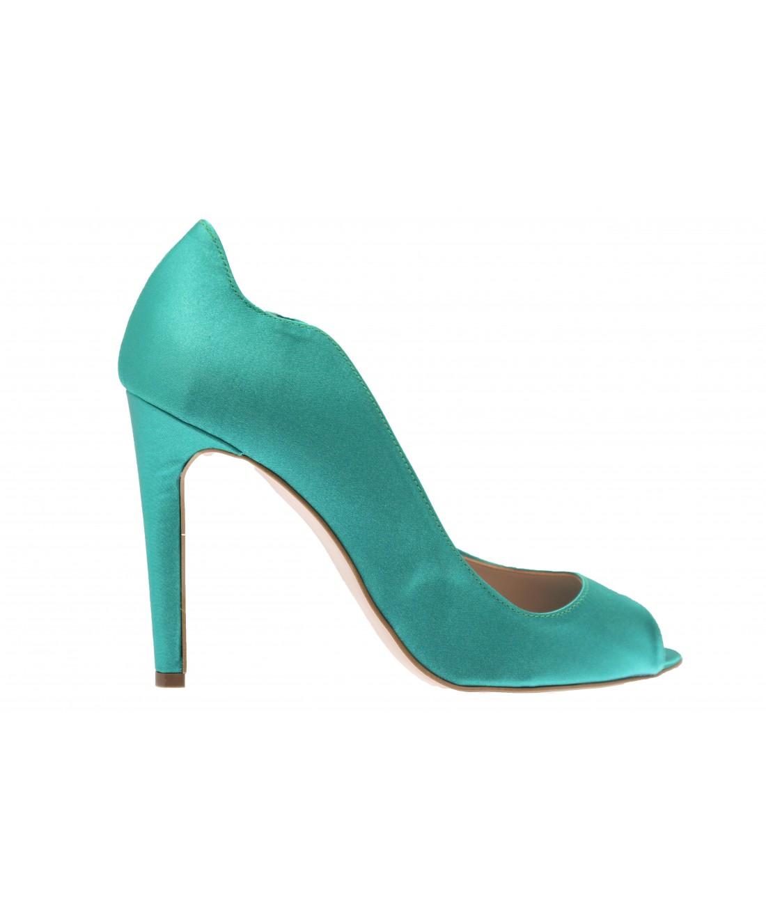 7d69275b7336a0 Féminité originale & coloré OSMOSE Shoes: escarpin ajouré satin vert