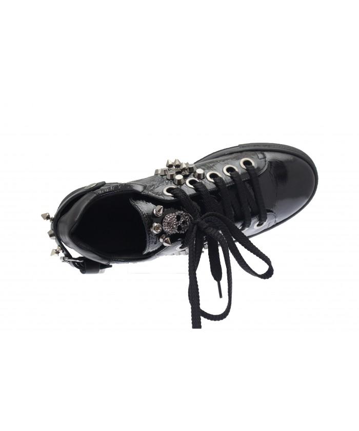 Basket Assia : Vernis Noir à lacet & tête de mort