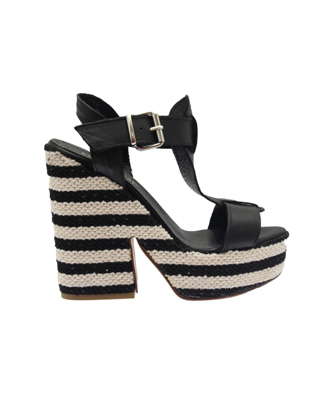 NoirNouvelle Osmose Shoes Rétro Rayé Blancamp; Compensée Chic Tendance nOPkw0