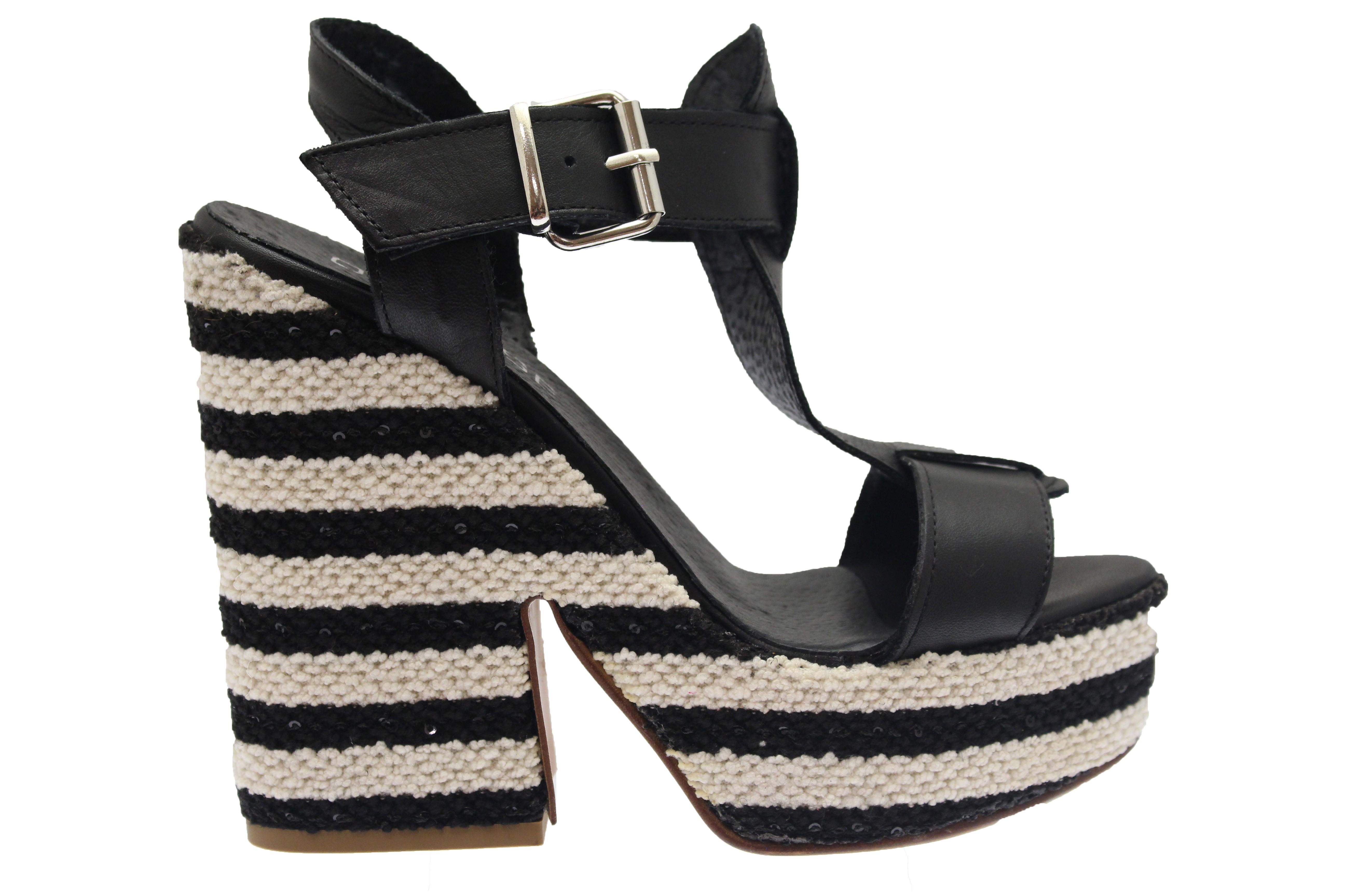 2f83c5e59ffcb1 Tendance rayé blanc & noir: nouvelle compensée rétro chic OSMOSE Shoes