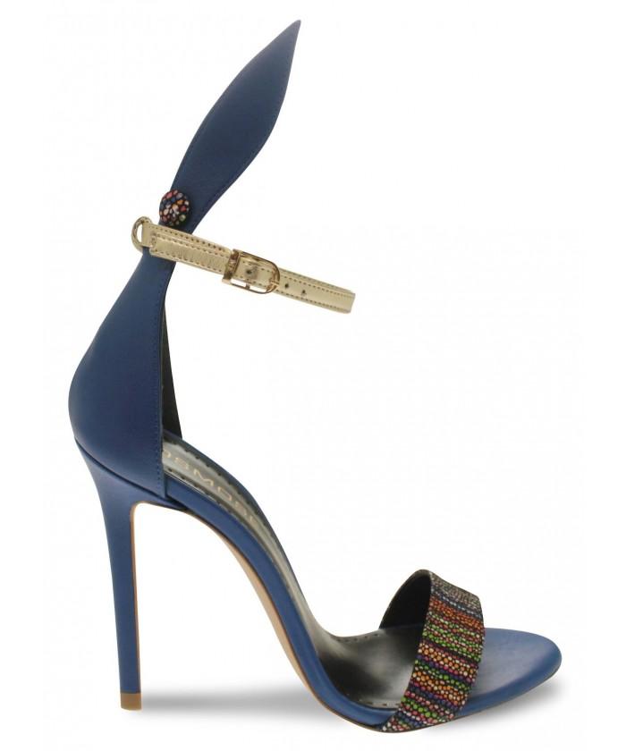 Sandale Nana :Cuir Bleu & Multicolor à Talon