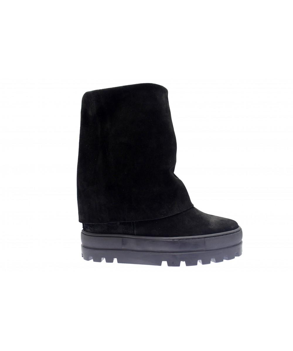 Boots Nancy : Daim Noir Compensée