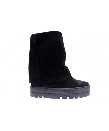 Boots Nancy : Compensée Daim Noir
