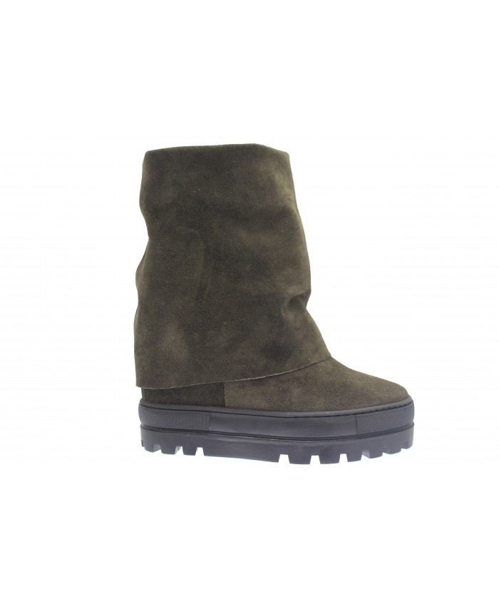 Boots Nancy : Compensée Daim Kaki