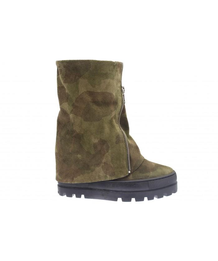 Boots Sybel : Compensée Daim Militaire fermeture argenté