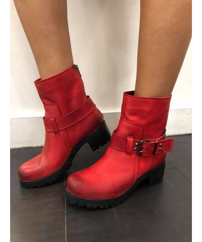 Boots Laura : Nabuck Rouge