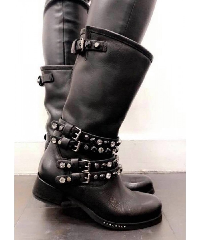 Bikers Princesse : Cuir Noir Multi Bride Strass & Effet Diamant