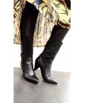 Bottines Laeti: Cuir Noir tige strass noir