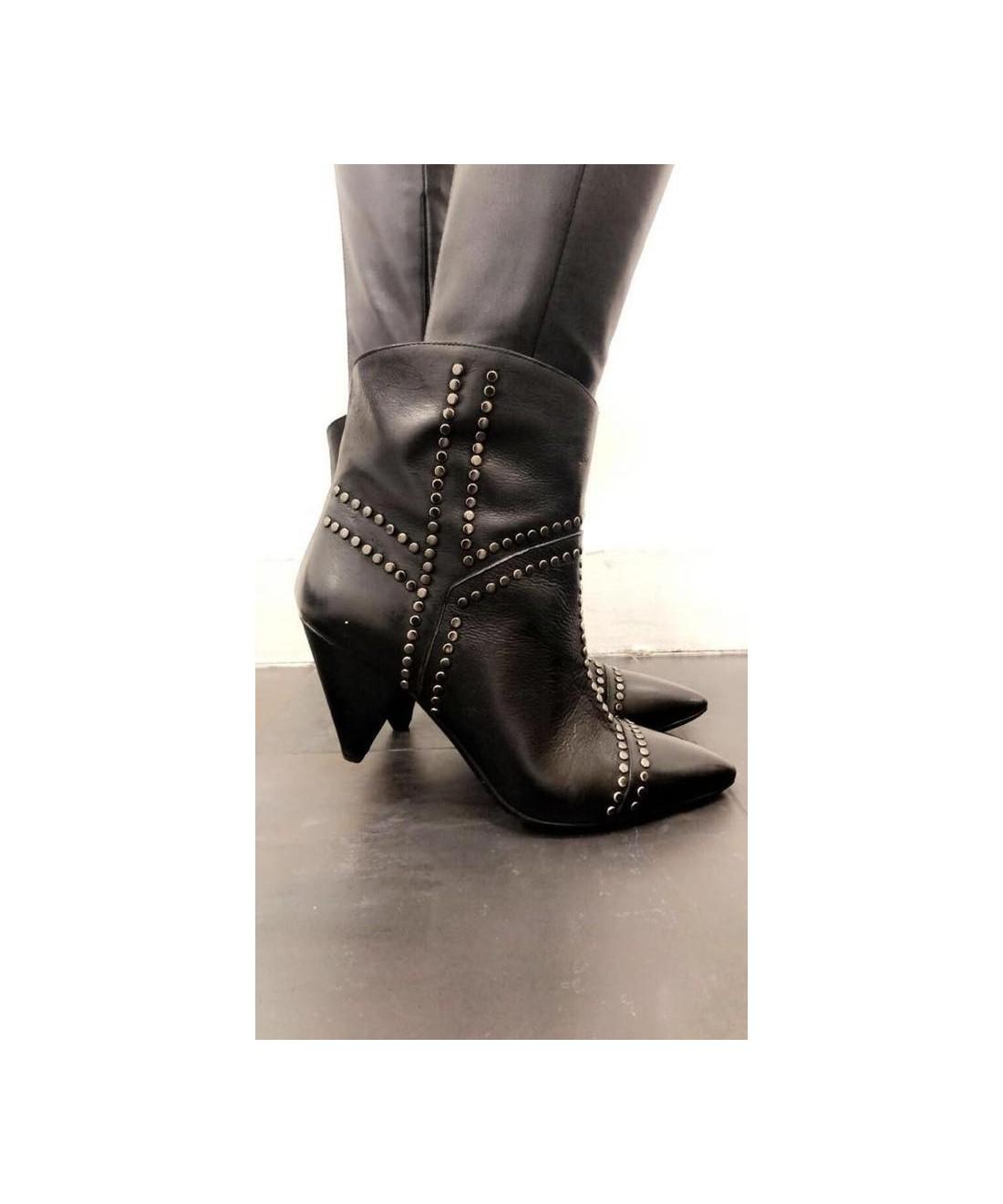 c74efd1b6ee0b0 Nouvelle boots cuir noir cloutée OSMOSE la pointe de votre modernité