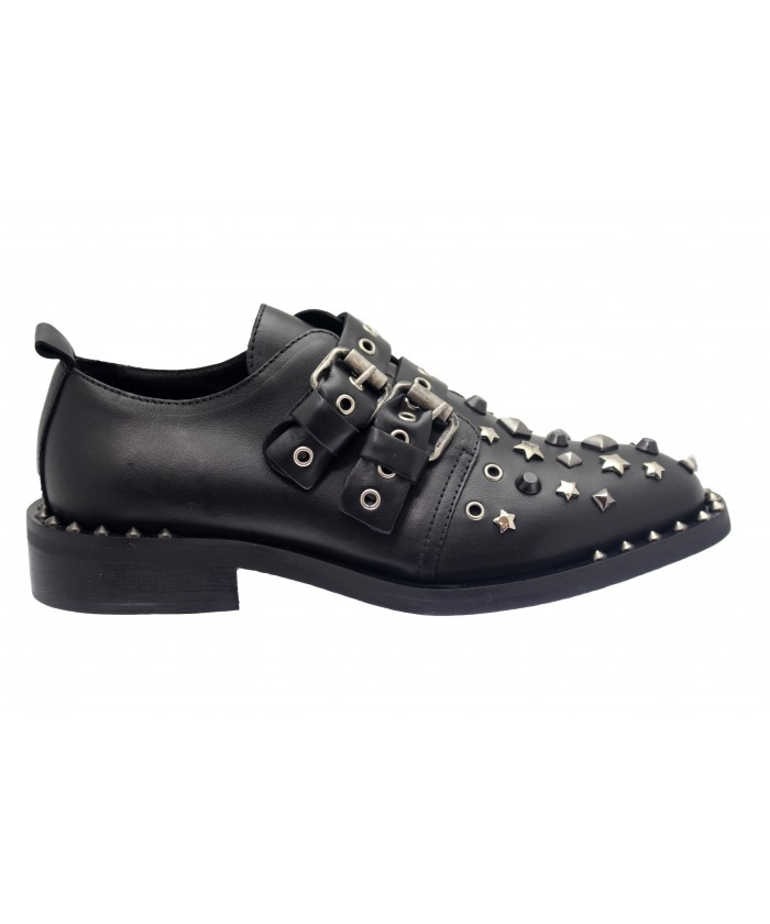 Derbies Sleven: Cuir Noir Multi Clou