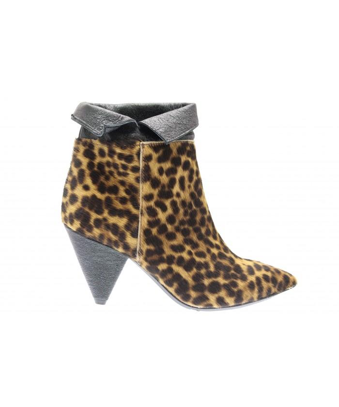 Jessy bottine: Poulain Leopard & cuir brillance noir à talon bizoté