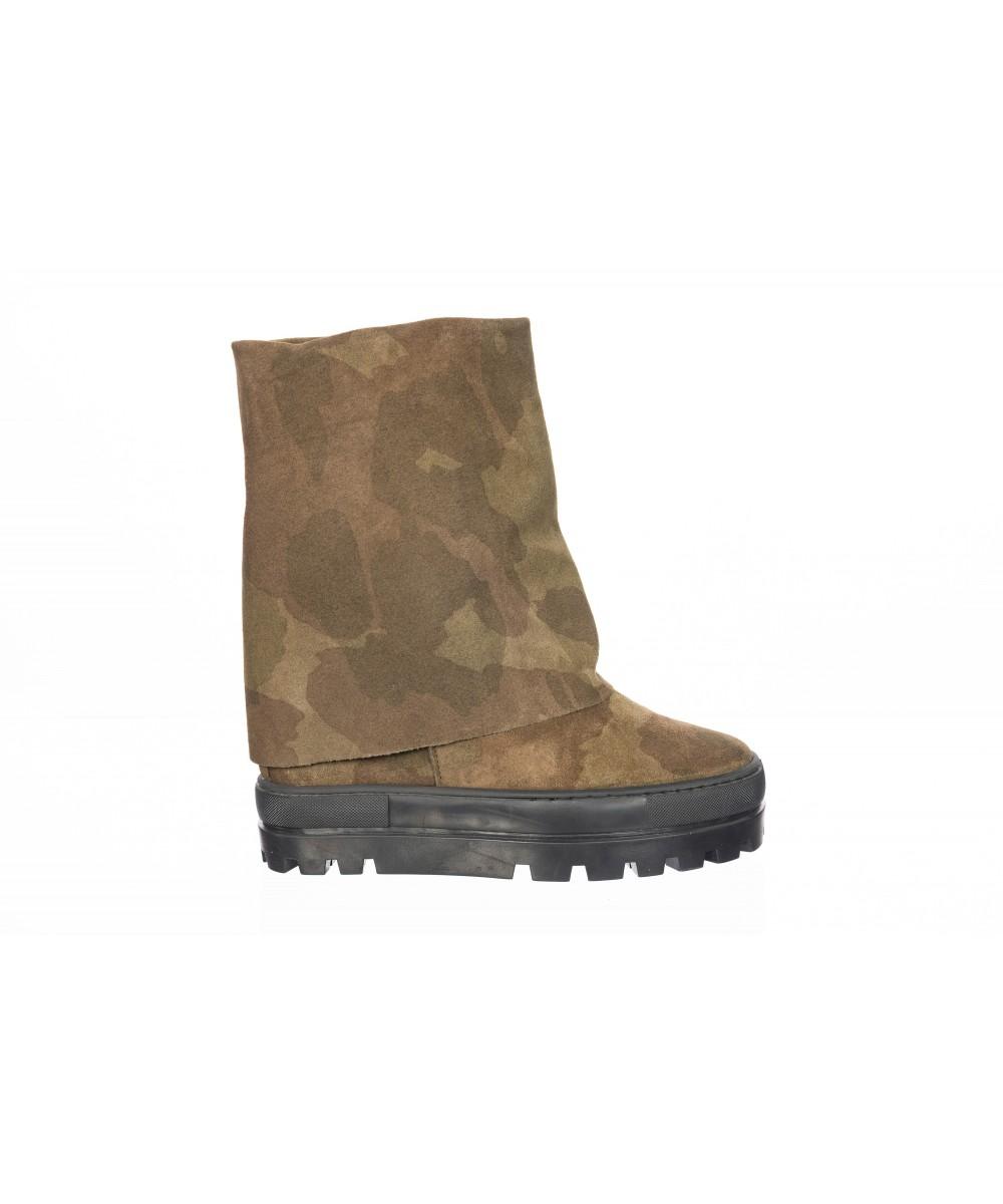 Boots Nancy : Compensée Daim MILITAIRE