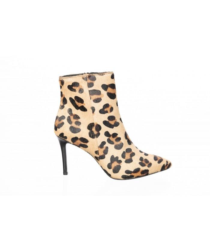 Linda Bottine : Poulain Leopard Imprimé à petit Talon