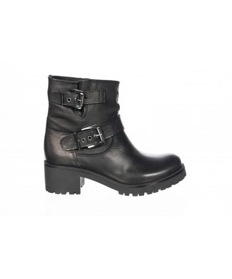 July Boots: Cuir Noir & Boucles Métal