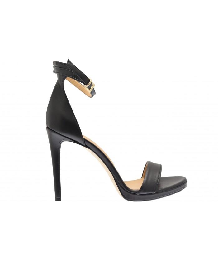 Sandale Sabrina:Cuir Noir Ajouré & Talon