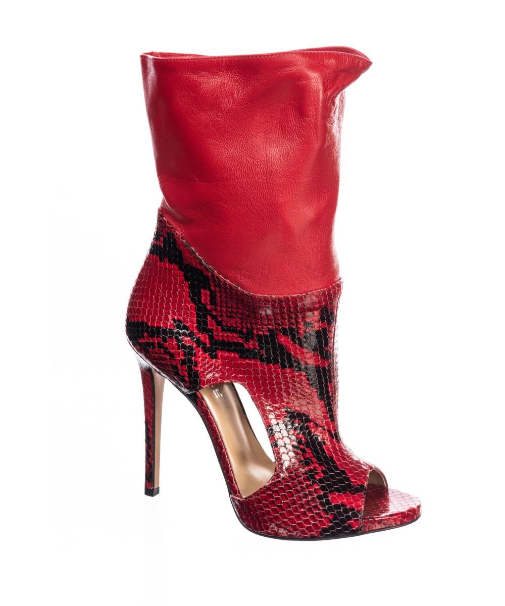 bottines rouge python