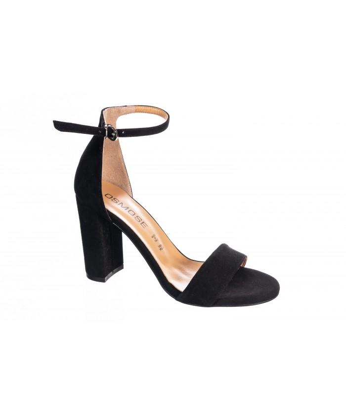 Sandale Ka: Daim noir à talon carré