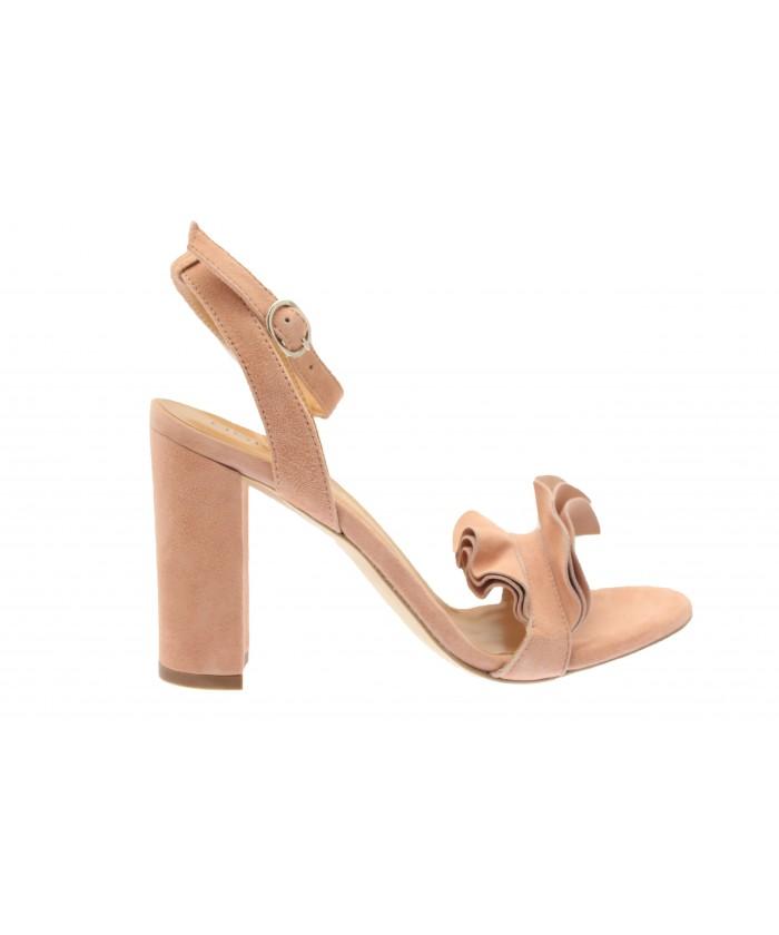 Sandale Oriana : Daim Rose Poudré à bride & talon carrée