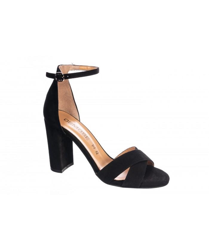 Sandale Julia : Daim cuir Noir à talon carré