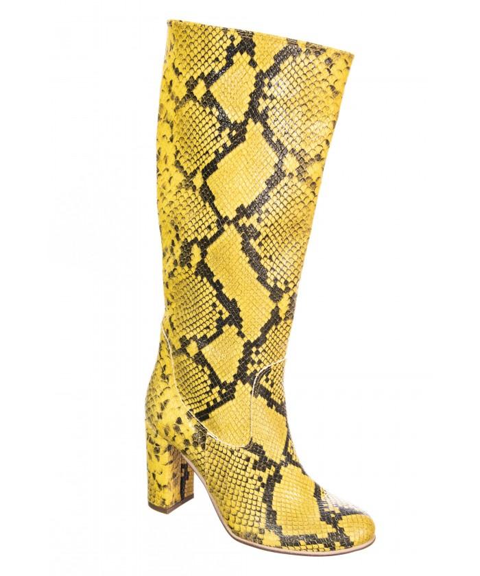Botte Clem : Cuir jaune imprimé python à talon carré