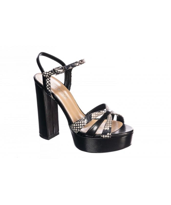Sandale Cuir Noir et Python