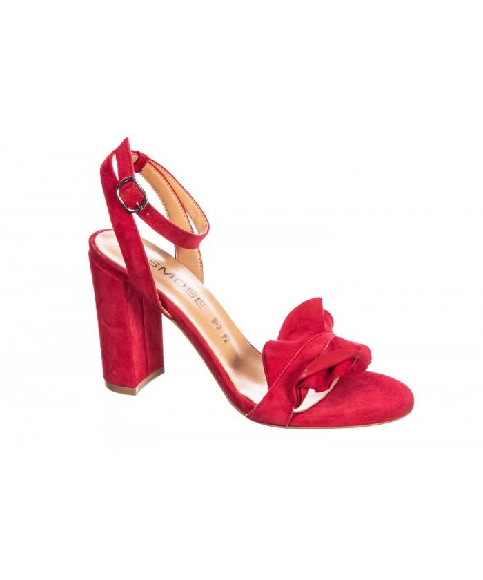 Sandale Oriana : Daim Rouge à bride & talon carrée
