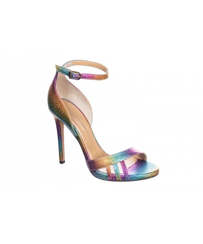 Sandale Marwa: Cuir Multi-couleur à talon haut