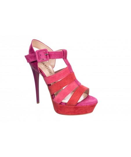Sandale Swan: Daim multicolor Rouge, Rose & Violet à talon & plateforme