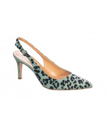 Escapin Nina : Daim cuir imprimé Leopard Vert à petits talons