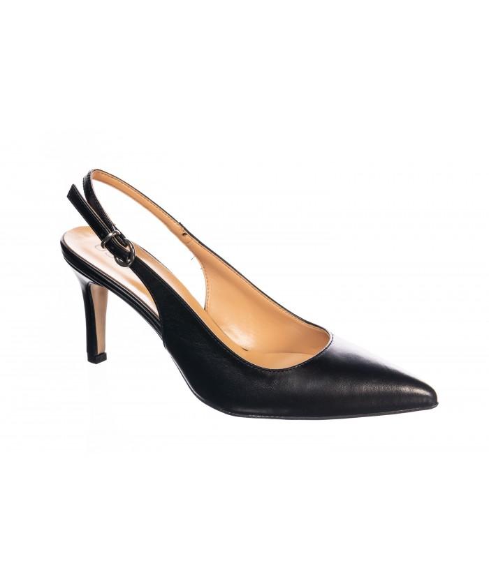 Sandale ouvert derrière Cuir Noir
