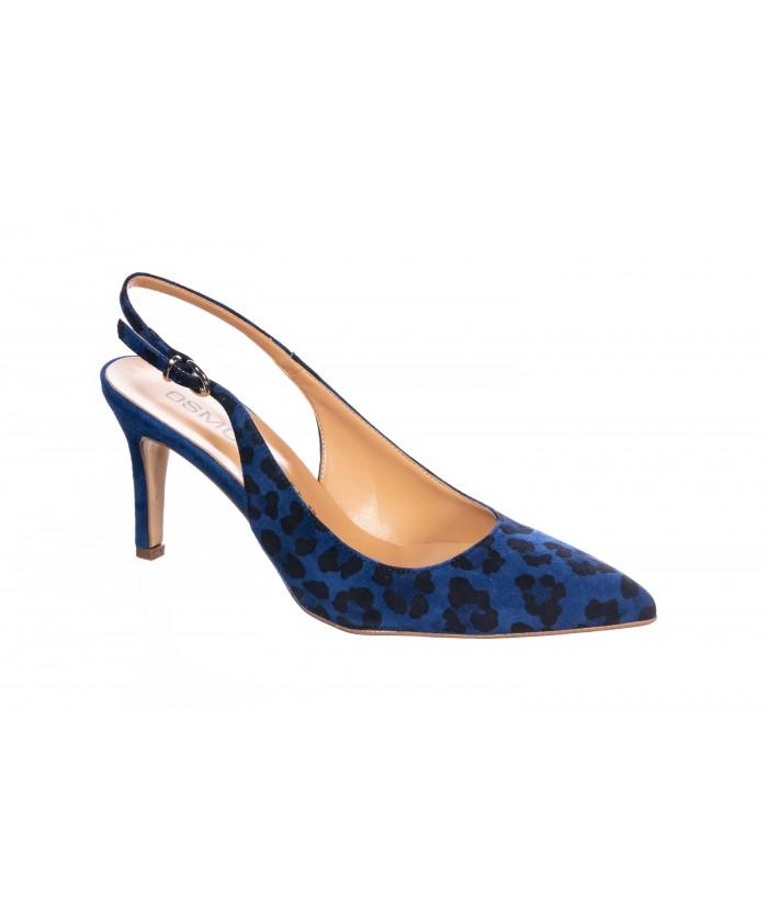 Sandale ouverte Léopard Bleu