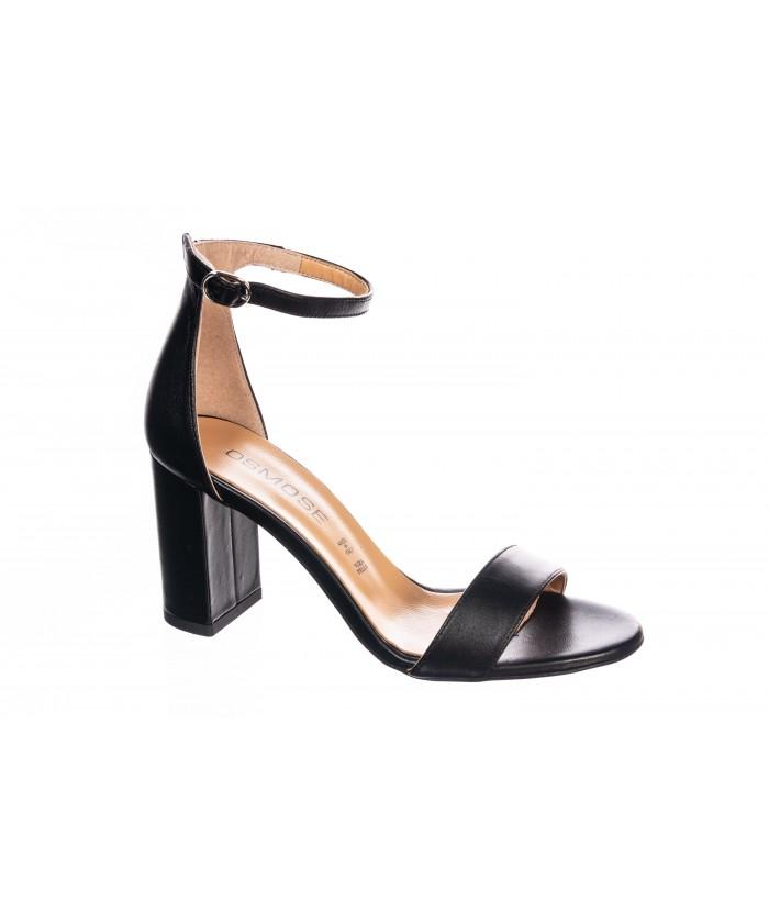 Sandale Lam : Cuir Noir à talon carrée