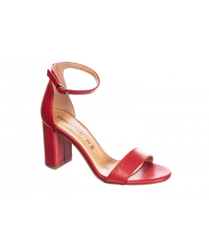 Sandale Lam : Cuir Rouge à petit talon carré