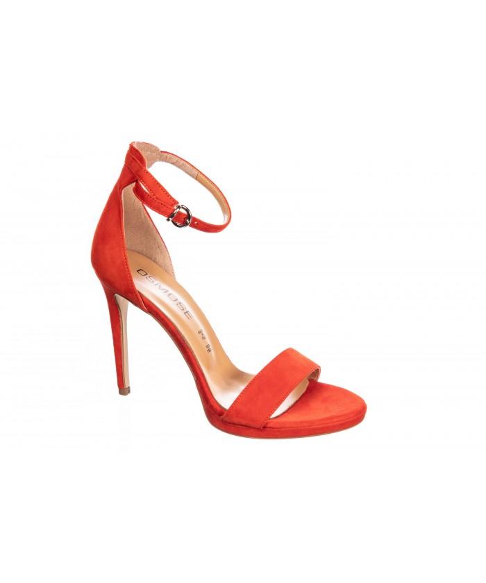 Sandale Sabrina : Daim Orange Ajouré & Talon